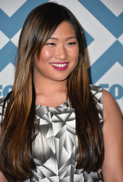Jenna Ushkowitz wore her ultra-long hair loose with a side part during the Fox All-Star party.