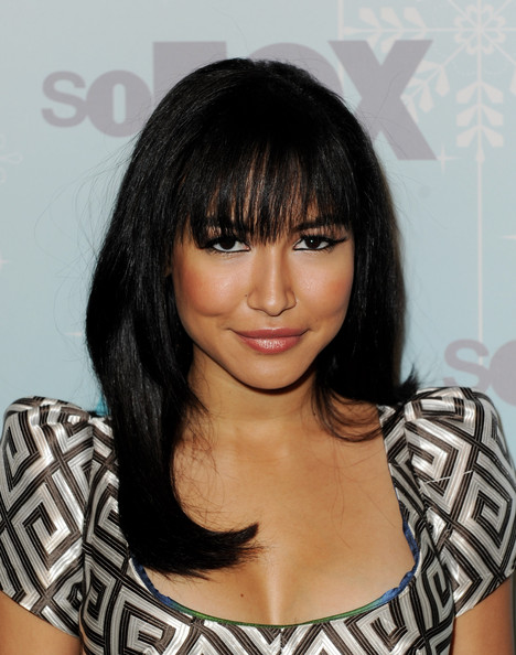 Naya Rivera's lengthy lashes popped, even though her new blunt bangs.