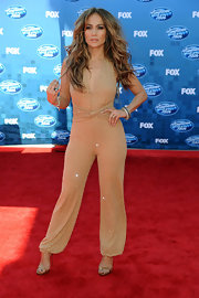 Jennifer sparkled in a nude jumpsuit for the 'American Idol' Finale show.