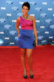 Ashley donned a two-tone one-shoulder cocktail dress for the 'American Idol' finale show.