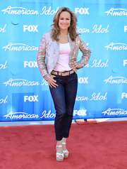 Melora Hardin stepped out to the 2012 'American Idol' finale in shiny iridescent wedges.