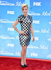 Kimberly Perry chose this silver and black checked sequined dress for a glitzy and sparkly red carpet look.