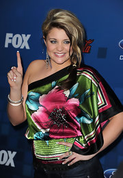 Lauren wore a vibrant floral Hawaiian blouse for the 'American Idol' Finalist Party.