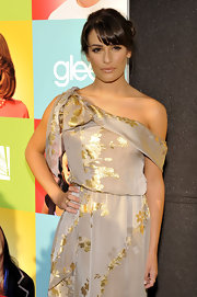 Lea paired her Reem Acra dress with a classic french twist.