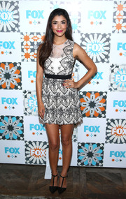Hannah Simone attended the Fox Summer TCA All-Star Party looking sweet in her black-and-white lace mini dress.