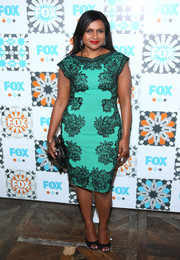Mindy Kaling made a classic, elegant choice with this green Tadashi Shoji cocktail dress featuring a black lace overlay during the Fox Summer TCA All-Star Party.