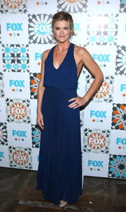 Missi Pyle was breezy-sexy in a blue halter-neck maxi dress during the Fox Summer TCA All-Star Party.
