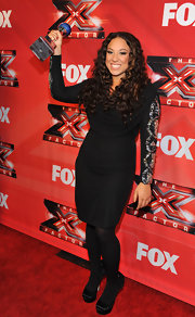 Melanie Amaro's LBD featured sparkling sleeves for the 'X Factor' season finale.