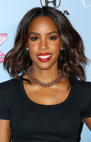 Kelly Rowland looked gorgeous with her windswept waves during the 'X Factor' finalist party.