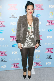Demi Lovato dressed up her casual tee with a sparkly gray Topshop blazer for the 'X Factor' finalist party.