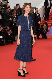 Sofia Coppola kept it modest on the red carpet in a studded blue Michael Kors dress during the 'Foxcatcher' premiere.