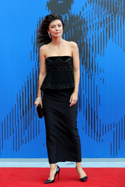 Alessandra Mastronardi kept it simple and classic in a strapless black peplum dress by Alberta Ferretti Couture at the Franca Sozzani Award.