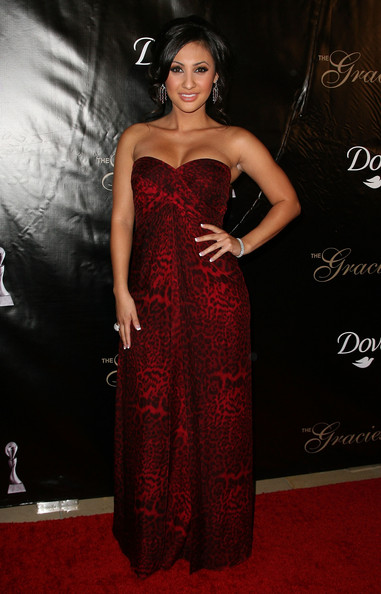 Francia Raisa Evening Dress [dress,clothing,carpet,strapless dress,red carpet,red,gown,fashion model,fashion,flooring,arrivals,francia raisa,beverly hills,california,gracie awards gala,annual gracie awards gala]