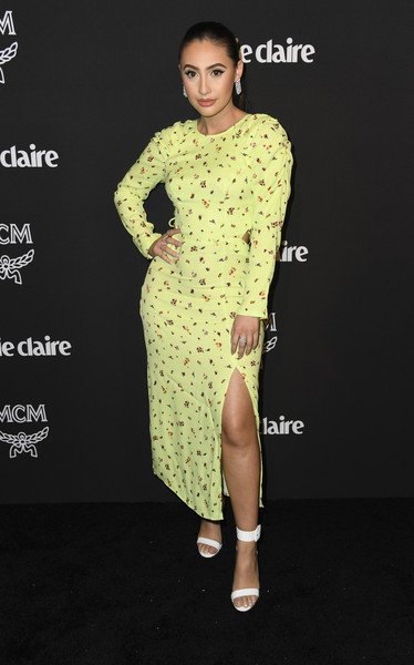 Francia Raisa Print Dress [clothing,fashion model,dress,yellow,fashion,formal wear,fashion design,neck,footwear,carpet,marie claire change makers celebration,francia raisa,hills penthouse,west hollywood,california,arrivals]