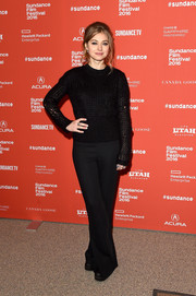 Imogen Poots chose on-trend wide-leg pants to complete her outfit.
