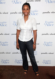 Anika keeps it simple in a white button up and jeans the 'Frankie and Alice' screening.