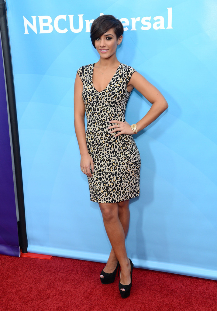 Frankie Sandford unleashed her wild side with this cap-sleeved, leopard print dress.