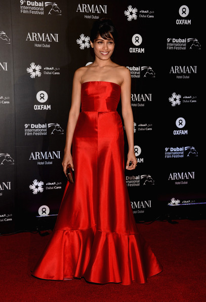 Freida Pinto Strapless Dress
