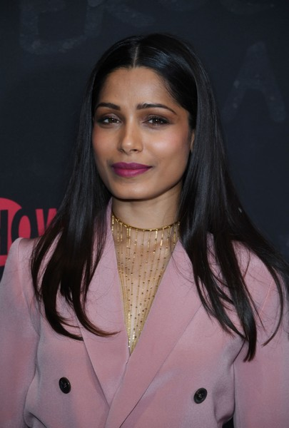 Freida Pinto Gold Statement Necklace [photo,hair,face,eyebrow,hairstyle,lip,beauty,black hair,pink,forehead,fashion,freida pinto,mark ralston,guerrilla fyc,wga theater,showtime,guerrilla fyc,afp,red carpet,event]