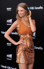 Julie Henderson shimmered in a burnt orange cocktail dress at the NY premiere of 'Friends with Benefits.' The blond starlet looked lovely in the one-shoulder gown with a tiger skin sequin pattern.