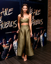 Emily Ratajkowski totally wowed in this strapless cutout jumpsuit by Solace London at the photocall and after-party for 'We Are Your Friends.'