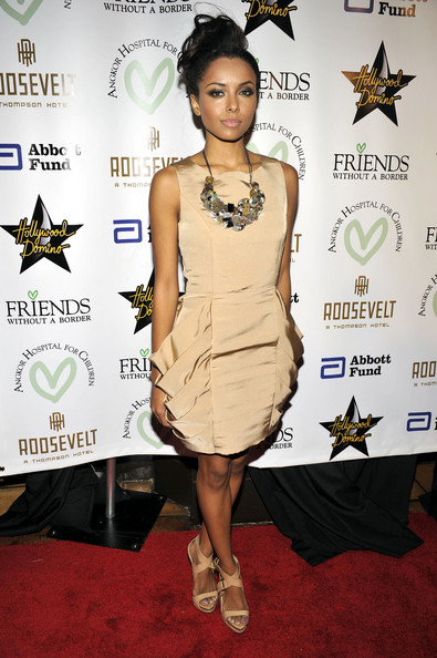 More Pics of Kat Graham Bronze Statement Necklace (1 of 4) - Statement Necklace Lookbook - StyleBistro [picture,friends without a border gala benefit,clothing,cocktail dress,dress,fashion model,red carpet,shoulder,fashion,carpet,joint,fashion design,katerina graham,california,los angeles,the roosevelt hotel,friends without a border gala benefit - arrivals]