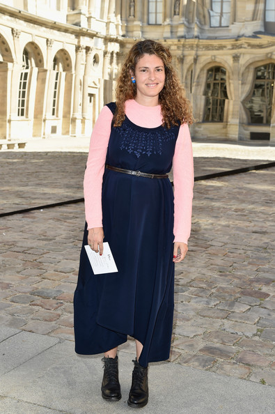 Ginevra Elkann went the conservative route in a navy dress layered over a pink sweater when she attended the Dior fashion show.