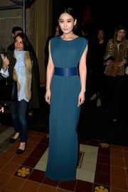Xinyu Zhang looked slim and statuesque in a belted teal evening dress by Lanvin during the label's fashion show.