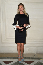 Alexandra Richards brightened up her look with a pair of slate-blue platform pumps.