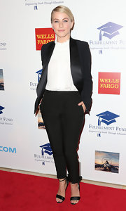 Julianne rocked the boyish trend in this slick tuxedo suit at the Stars Benefit Gala.