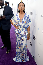 Karrueche Tran looked effortlessly chic in a kimono-inspired foliage-print peplum gown at the Not the White House Correspondents' Dinner.