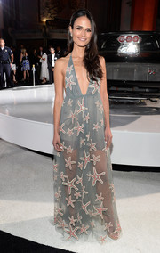 Jordana Brewster looked absolutely darling at the 'Furious 7' LA premiere in a whimsical starfish-embroidered halter gown by Valentino.