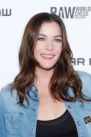 Liv Tyler showed off her medium length curls while hitting the G-Star chess challenge.