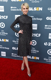 Chelsea Kane polished off her look with a pair of silver pumps.
