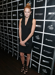 Cody Horn kept it simple in a sleeveless, V-neck LBD at the GOOD+ Foundation Fatherhood Lunch.