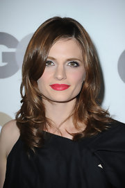 Stana Katic showed off her hot red lips while attending the Men of the Year Awards.