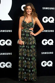 Malena Costa posed at the GQ Men of the Year Award 2012 wearing a printed cutout halter maxi.