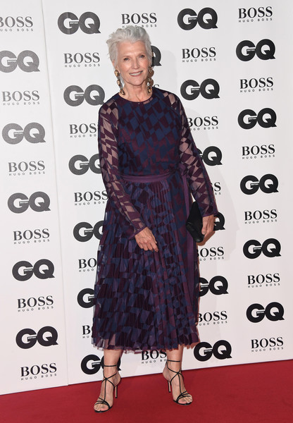 Maye Musk styled her dress with barely-there heels.