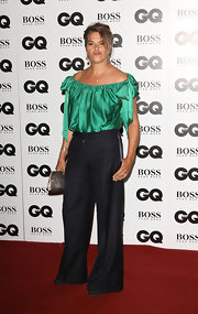 Tracey Emin wore a sweet green off-the-shoulder top with bow embellishments to the GQ Men of the Year Awards.