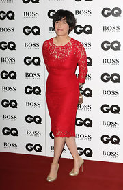 Sharleen Spiteri went for a classic, ladylike look in a red lace cocktail dress when she attended the GQ Men of the Year Awards.