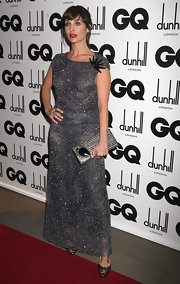 Natalie Imbruglia piled on the sparklies at the GQ Men of the Year Awards with a beaded dress and a metallic silver clutch adorned with a huge gemstone.