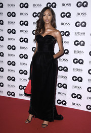 Jourdan Dunn was all about classic glamour in a black velvet bustier dress by Jean Paul Gaultier Couture at the GQ Men of the Year Awards.
