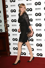 Sophie Dahl complemented her lace LBD with a leopard-print frame clutch when she attended the GQ Men of the Year Awards.