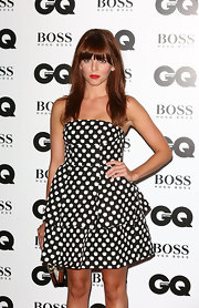Ophelia Lovibond made a cute choice with this black-and-white apple-print dress when she attended the GQ Men of the Year Awards.