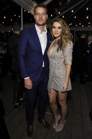 Chrishell Stause rocked a short taupe blazer dress with a plunging neckline at the 2018 GQ Men of the Year party.