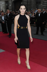 Victoria Pendleton's nude pointy platform pumps intensified the futuristic feel of her LBD.