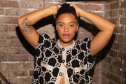 Kiersey Clemons showed off her huge rose tattoo at the Nordstrom event in Seattle.