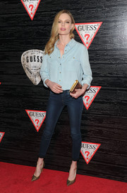 Kate Bosworth kept it casual and classic in a light-blue Guess button-down during the brand's celebration of New York Fashion Week.
