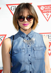 Katharine McPhee looked ready for summer with this bright fuchsia lip color that had a slight hint of lavender.