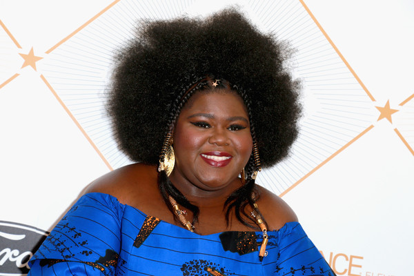Gabourey Sidibe Afro [red carpet,hair,afro,hairstyle,jheri curl,black hair,smile,fun,fashion accessory,gabourey sidibe,beverly hills,california,regent beverly wilshire hotel,essence black women in hollywood oscars luncheon]